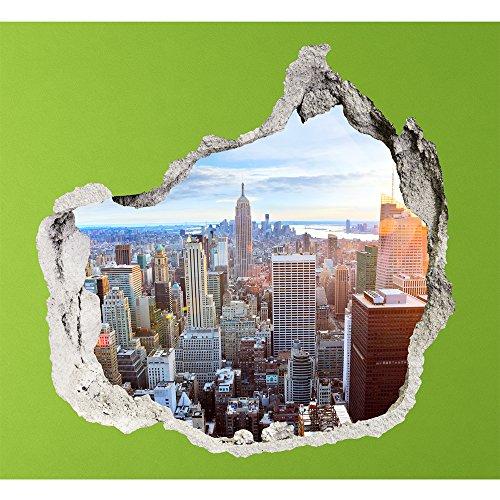 PROXTA Wandtapete 3D - Wall Magic 100 x 120 cm - NEW YORK SKYLINE - Selbstklebende 3D-Tapete aus Vinyl Wand-Aufkleber Loch in der Wand Illusion Wandtattoo Wandsticker