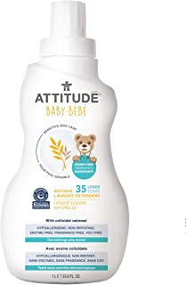 ATTITUDE Baby Laundry Detergent for Sensitive Skin, Hypoallergenic, Dye free, Unscented, HE compatible, Fragrance Free, 33...