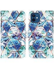 WJMWF Compatible con Funda iPhone 12 Mini Costuras Mármol PU Cuero Wallet Flip Caso Cierre Magnético Ranura para Tarjetas con Correa Mano Antigolpes Case Azul y Verde