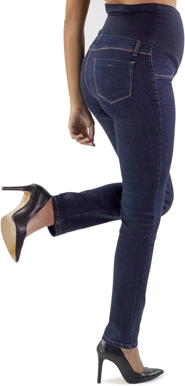 Made in Italy Jeans Ajustados de Maternidad Roma Basic Tela El/ástica y Banda de Jersey Suave Ideales para su Embarazo