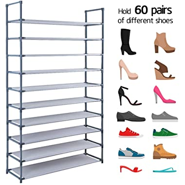 Camabel 10 Tiers Rack Shelves For 60 Pairs Non-Woven Fabric Storage Organizer Cabinet Tower Shelf Space Saving DIY Assembly No Tools Required Hold High Heeled Flats Sneakers Tennis Shoes, Grey