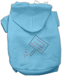 Mirage Pet Products Santa Stop Here Hoodies Baby Blue Small