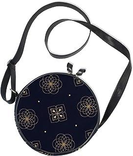 Emoya Damen-Handtasche, rund, Marineblau, Blumenmuster, rustikale Blumen, Segeltuch, Umhängetasche, Kreis, Geldbörse für Damen und Mädchen
