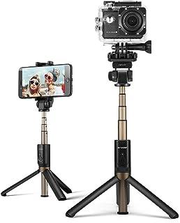 Selfie Stick, BlitzWolf 4 in 1 Mini Extendable Selfie Stick Tripod with bluetooth Remote for Gopro Camera, iPhone XS MAX/XS/X/8/8 Plus/7 7 Plus/6/6s Plus, Samsung S9/S9 Plus/S8, 3.5-6 inch Smartphones