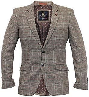 Cavani Mens Blazer Coat Wool Mix Checked Suit Jacket Slim Fit Formal Wedding New