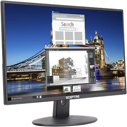 Sceptre E205W-16003R - Monitor LED sin Marco ultradelgado HDMI VGA, con bocinas incorporadas, Negro metálico 2018, Ultra Delgado, Metallic Black, 51 cm