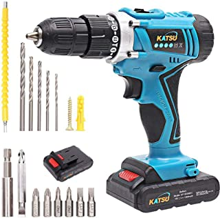 KATSU Cordless Combi Drill with Impact 18V and Accessories Kit + Flexible Shaft + Double Ended Bit + 5 Drill Bits + 6 Scre...
