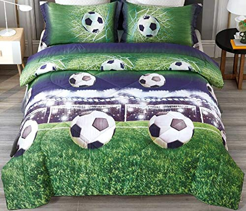 ENCOFT 3D Football Comforter Bedding Sets for Teen Kids Twin/Full Size 3 Pieces, 1 Comforter, 2 Pillowcases, Microfiber Kids Comforter Sets with Pillowcases