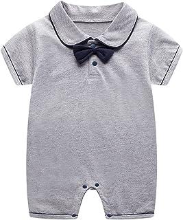 الوليد الطفل بنين بنات الرسمي ربطة طوق القصير قصيرة الأكمام البدلة ارتداءها بذلة 0-12 أشهر (Color : Gray, Size : 59CM)