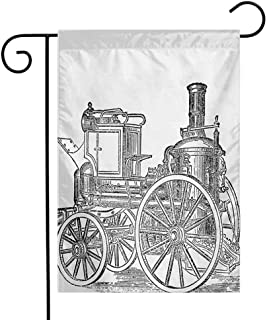 Zzmdear Beautiful Garden Flag, Colorful Design, Old Fireman Truck Drawing Effect Picture British Antique Transport, Charcoal Grey White, 12