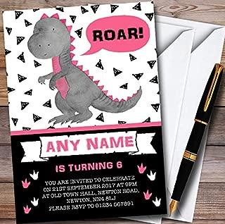 10 x Black & Pink Girls Roar Dinosaur Personalized Childrens Birthday Party Invitations