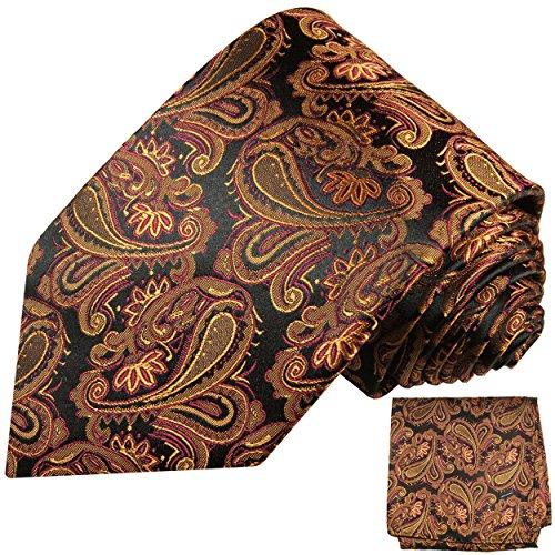 Cravate homme noir marron motif cachemire ensemble de cravate 2 Pièces ( longueur 165cm )