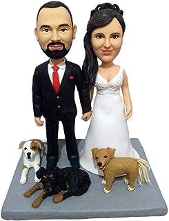 figuritas de perro de gato de arcilla de tus fotos pareja de boda pastel de cumpleaños con perros bobblehead personalizado...