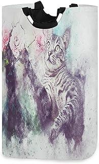 N\A Vintage Chat Fleur Aquarelle Animal Chaton Art Panier à Linge avec poignées étanche Pliable Panier de Rangement Grand ...