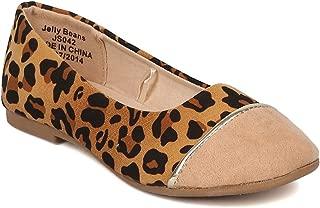 Alrisco Girls Faux Suede Leopard Capped Toe Ballet Flat HA85