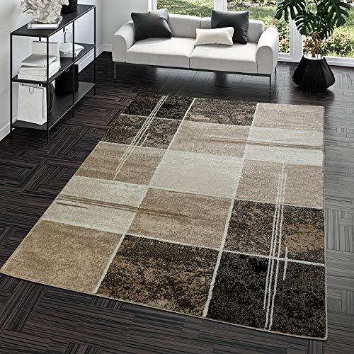 Alfombra asequible de cuadros, diseño moderno, para salón, color marrón y beige, 160 x 220 cm