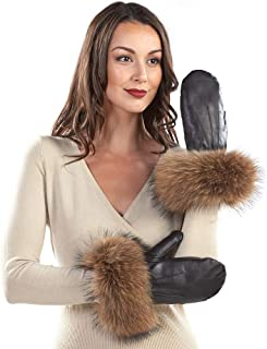 frr Vermont Leather Mittens with Wide Finn Raccoon Cuffs