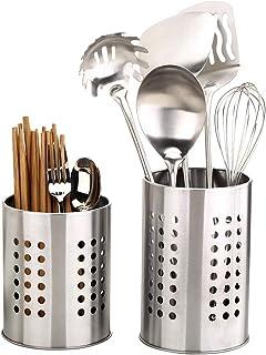 Feelava Lot de 2 porte-ustensiles de cuisine en acier inoxydable anti-rouille pour organiser les tiroirs et comptoirs