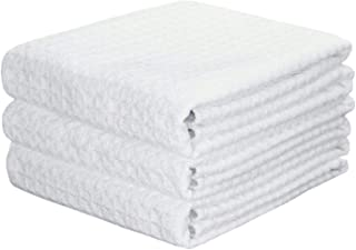 Mia'sDream Microfiber Waffle Weave Kitchen Thick Towels Dish Cloth 3 Pack 41cm X 60cm (White)