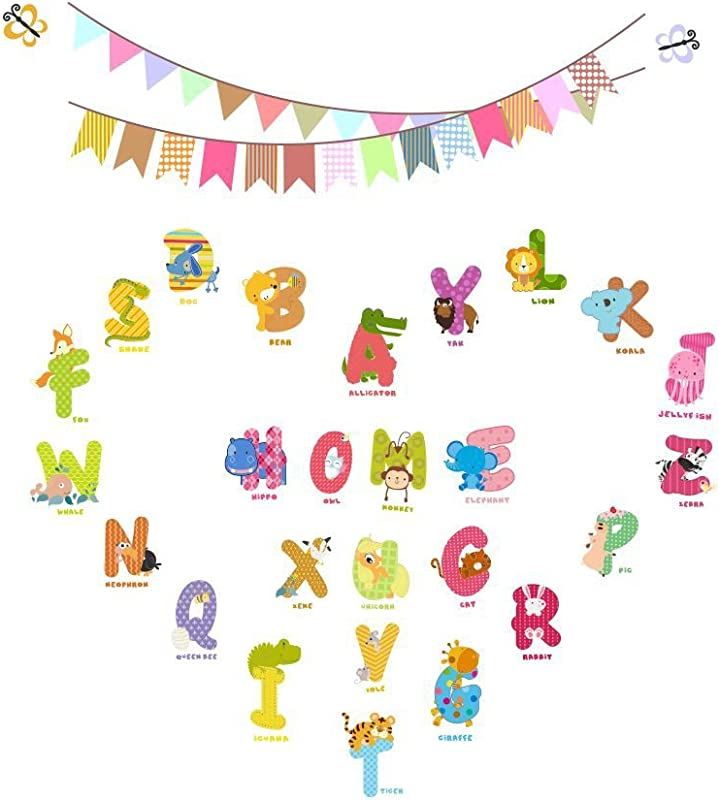 AWAKINK Cartoon Animals English Graphic Alphabet Letters Wall Stickers Removable Wall Decal For Girls And Boys Nursery Baby Room Children S Bedroom