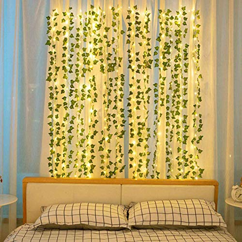 Phoetya Fake Vines Hanging Plant Fake Vine Plant Hanging Leaf Artificial Ivy Garland Fake Ivy Garland Vines Artificial Ivy Leaf Garland 12 Monochromatic Green Leaf Vines(10 meters Green)