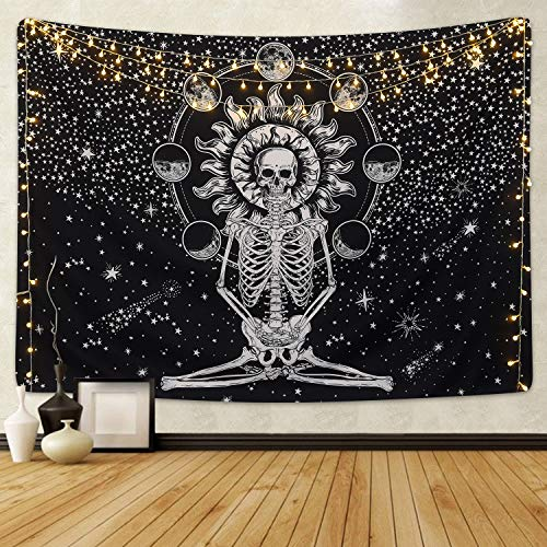 Skull Tapestry Meditation Skeleton Tapestry Chakra Tapestry Starry Tapestry Black and White Stars Tapestry for Room