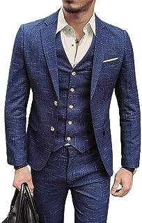 Mens 3 Piece Suit, Classic Tweed Herringbone Check Tan Slim Fit Vintage Suit Prom Formal Tuxedo Suit(Jackets+Vest+Trousers)