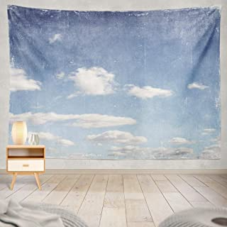 KJONG Vintage Blue Sky Sky Retro Vintage Grunge Blue Antique Light Nature Landscape Art Old Aged Ancient Clouds DayDecorative Tapestry,60X80 Inches Wall Hanging Tapestry for Bedroom Living Room