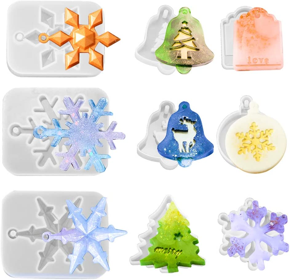Juanya 9PCS Christmas Resin Theme Molds Pend Silicone Max Safety and trust 57% OFF