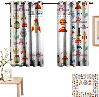 Luckyee Kids Party Decor Curtains by Cartoon Style Space Crafts Astro Elements Pattern Aviation UFOs Rockets Symbols 63