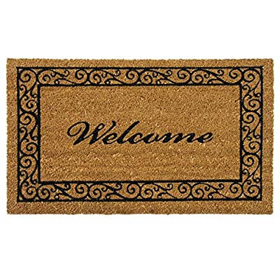 """Rubber-Cal """"Estate Style Welcome Doormat Coco Coir Mats, 24 x 57-Inch"""