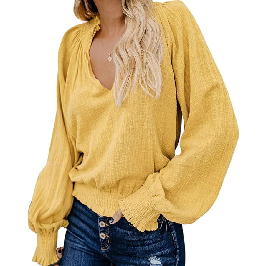 RXRXCOCO Womens V-Neck Casual Tops Smocked Peasant Blouse Lantern Long Sleeve Loose Shirts