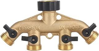 Yosoo 3/4 Inch Brass 4 Way Hose Pipe Splitter Nozzle Switcher Tap Connectors for Garden Irrigation(American Thread 3/4)
