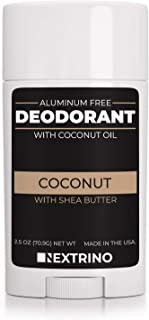 All Natural Aluminum Free Deodorant - Made in the USA with Coconut Oil & Essential Oils for Women and Men - Vegan, Non-GMO & Organic Ingredients (Coconut)