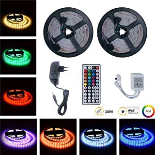 Metermall 10M RGB LED Waterproof Strip Lights+44Keys Remote Control+Adapter European regulations