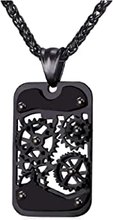 U7 Men Steampunk Jewelry Cool Gear Pendant Dog Tag Necklace