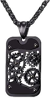 U7 Men Steampunk Jewelry Cool Gear Pendant Dog Tag Necklace