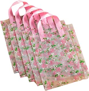 Transparent Rose - 50 Pieces Plastic Shopping Bags Gift Bag Boutique Tote Bags