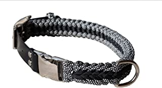 Blue Handle Channels Extra Strong Paracord Dog Collar for Large Dogs. Heavy-Duty Clasp and Buckle. Adjusts from 17in to 21in Circumference - Black with Black & White Camo Color