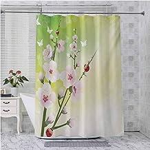Aishare Store - Juego de cortina de ducha con diseño de flores en el campo y mariquitas, hojas japonesas, diseño de pétalo...