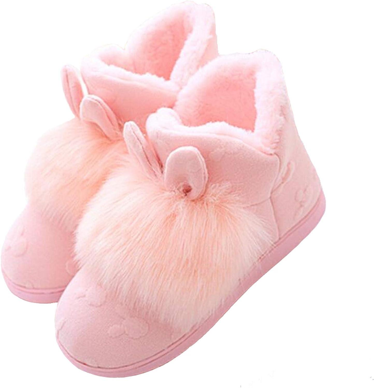 The fairy Women Snow Boots Warm Rabbit Ear Home Winter shoes Comfort Fur Flat Ankle Boots Non-Slip Floor Cotton shoes