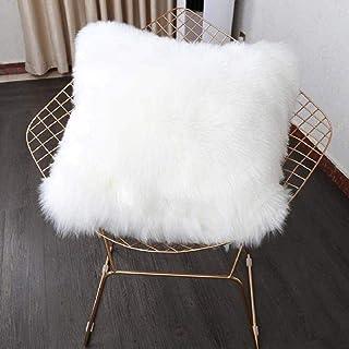 HEQUN Funda de cojín de sofá, Funda Almohada de Suave Piel sintética de Lana, Cojín Cubierta Tiro Funda de Almohada Sofá Decoración 45cm x 45cm (sin Almohada) (Blanco)