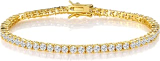 GMESME 18K White Gold Plated Cubic Zirconia Classic Tennis Bracelet 7.5 Inch (Gold-Plated-Brass)