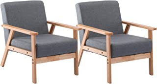 DORAFAIR 2 x Retro Sessel Stuhl Grau Lounge Sessel mit Massivholz-Struktur Hochwertigem Gepolsterten und Rückenlehne,für Wohnzimmer Schlafzimmer Skandinavisches Designsessel
