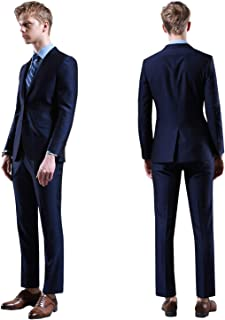 Men's Slim Fit 2 Piece Suit Two Button Blazer Tux Vest & Trousers Fashion Style