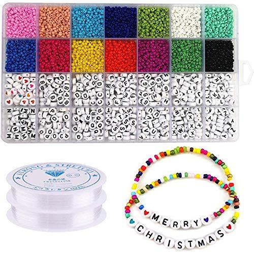 Iycorish Juego de 5000 cuentas, cuentas de cristal de 3 mm, cuentas de letras del alfabeto y cuentas de forma de corazón para pulseras de nombres y manualidades
