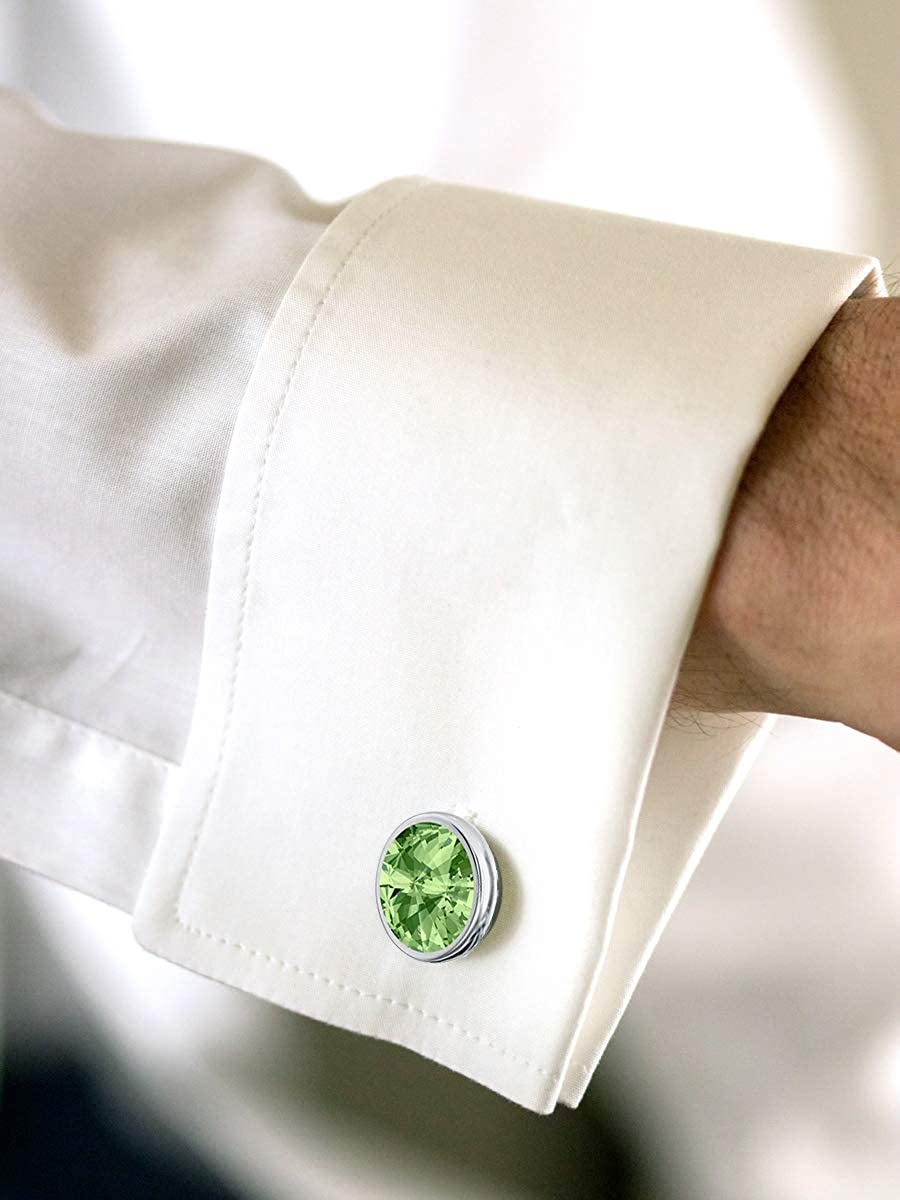 Beforya Paris Men's Cuff Links 925 Silver Various Colours with Swarovski Elements Cuff Pins with Box PIN/75 Peridot