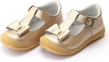 L'Amour Emma Bow Flexible T-Strap Mary Jane Velcro Buckle Shimmer Champagne Gold Toddler Kids & Youth Girls Shoes