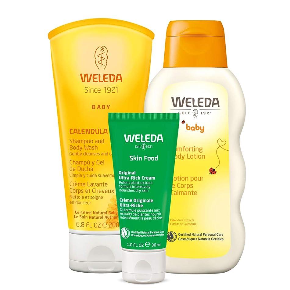 Weleda Weleda mama and baby essentials 3-piece set: two-in-one calendula shampoo and body wash, calendula body lotion, and skin food