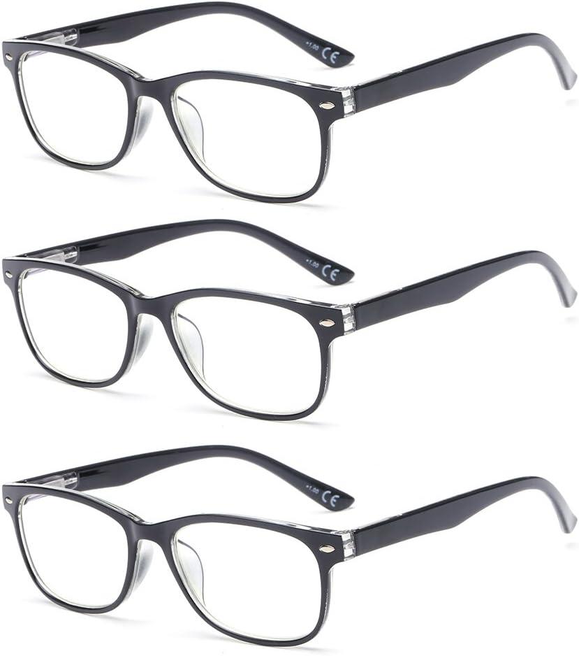 Suertree Anti Blue Light gafas de lectura 3 paquete ayuda visual gafas ópticas gafas de lectura para damas hombres BM161 1.5X …